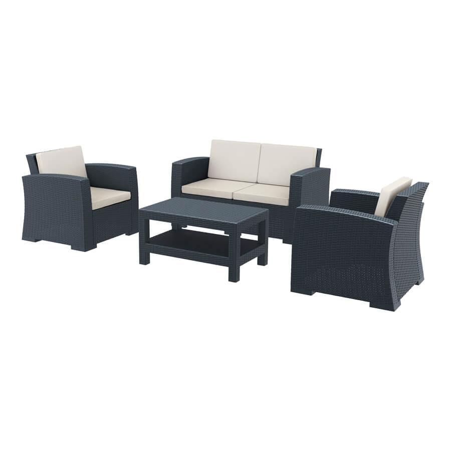 Cool Monaco 4 Piece Sofa Set Za 1214C Dark Grey Squirreltailoven Fun Painted Chair Ideas Images Squirreltailovenorg